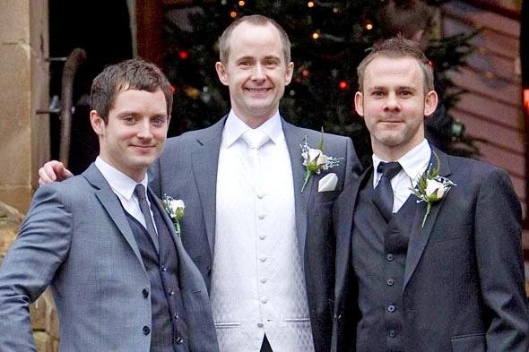 Elijah Wood, Billy Boyd, and Dominic Monaghan. Billy's wedding.