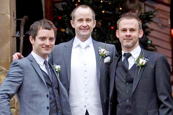 Elijah Wood, Billy Boyd, and Dominic Monaghan. Billy's wedding.