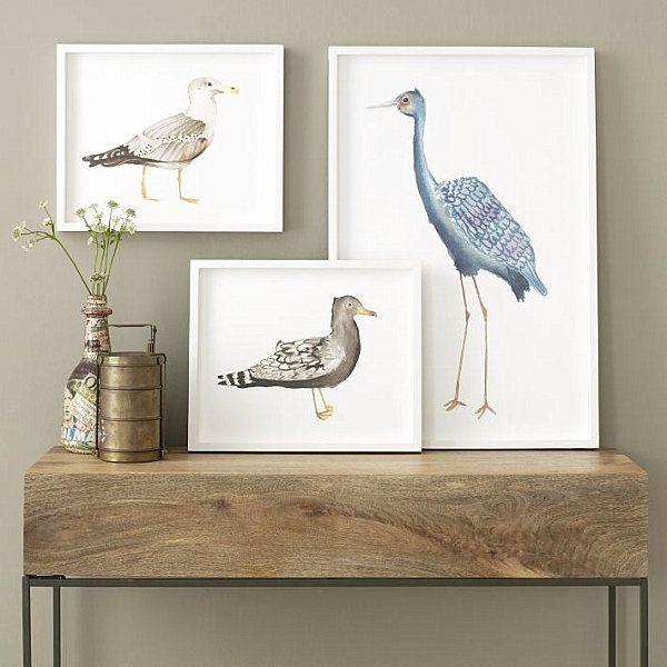 Framed bird wall art from West Elm.
