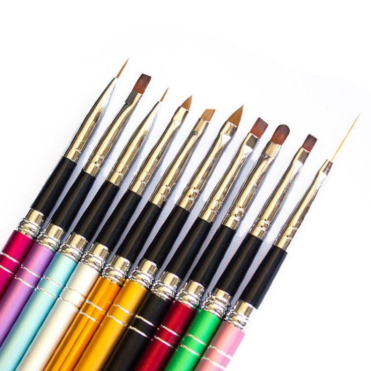 10 Pcs 3D Nail Art Painting Brush Pen Set Polish Colorful Metal For UV Gel Design
