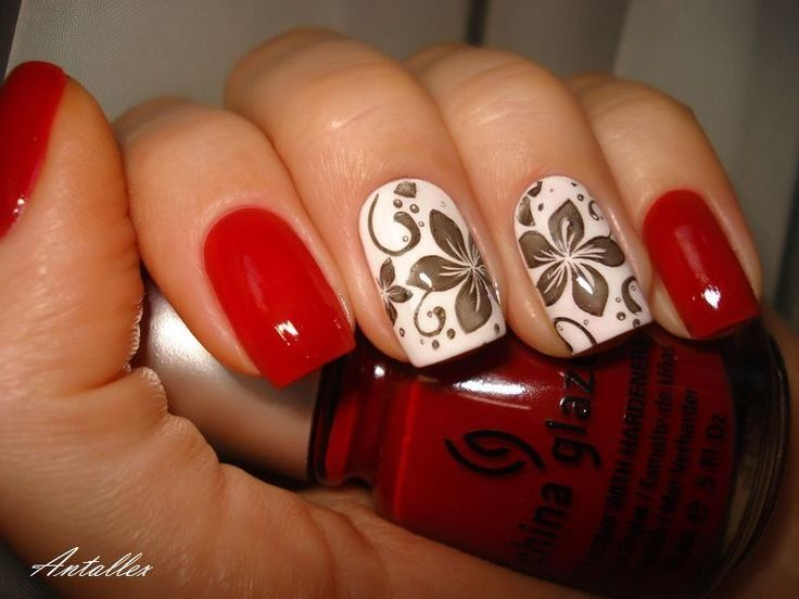 Beautiful evening nails, Fall nail ideas, Fall nails 2016, Nails with flower print, Nails with stickers, Red and white nails, Red dress nails, Red…