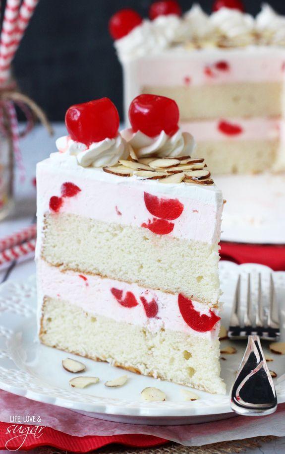 Cherry Almond Amaretto Ice Cream Cake