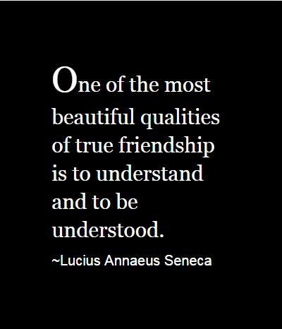 """""""One of the most beautiful qualities of true friendship is to understand and to be understood."""" Lucius Annaeus Seneca"""