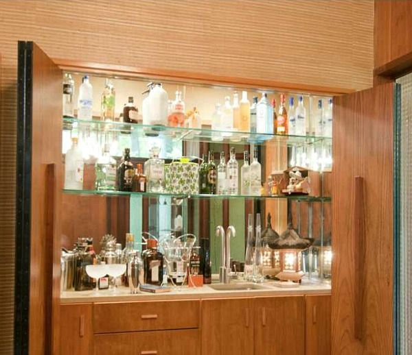 Idea for the closet in my home office: turn it into this bar. Midcentury Modern ranch for sale in Atlanta (15)