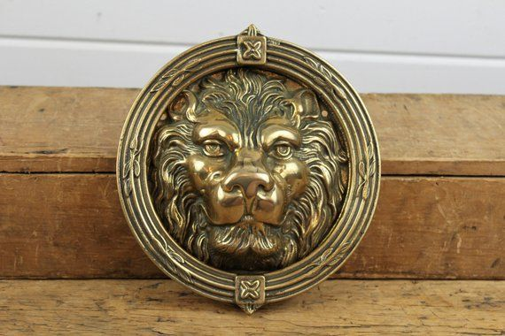 Vintage Large Brass Round Lion Door Knocker Lion Head Heavy Solid Brass Lion Decor Round Door Knocker Brass Knocker Old Co Vintage Large Round Decor Round Door