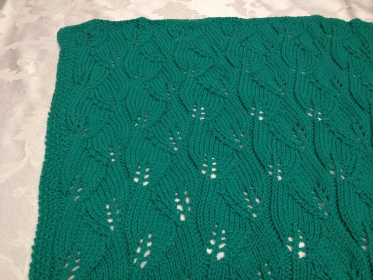 Emerald Leaves, Merino Yarn, Baby Throw