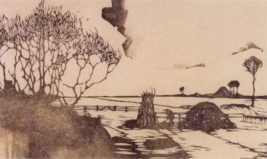 jan mankes | Jan Mankes, Landschap, links bomen, in het midden een takkenbos (1917)