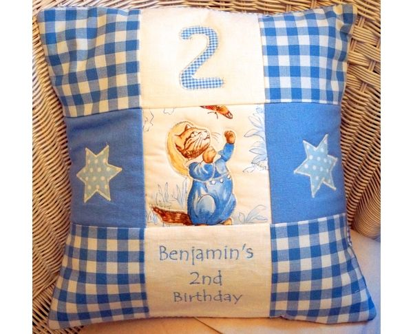 Celebrate your child's birthday with this adorable, personalised Beatrix Potter cushion!