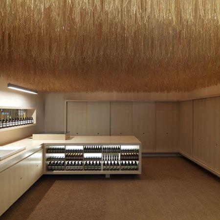 coconut husk strings ceiling installation, Aesop store, Singapore