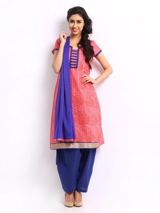 Anouk Women Pink Embroidered Salwar Kurta with Dupatta