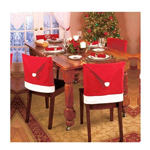 Euone 1pcs Santa Red Hat Chair Covers Christmas Decorations Dinner Xmas Cap Sets
