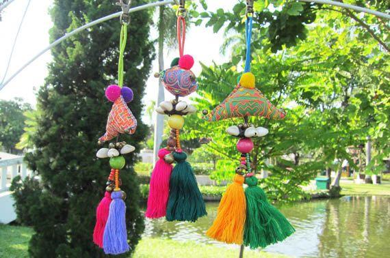 Gland+pompon+tissu+Mini+sac+à+main+charme+Hmong+par+midgetgems