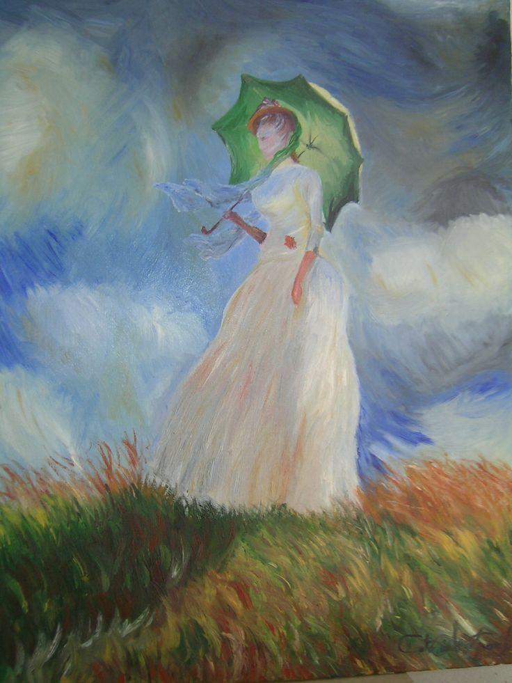 """""""Donna con parasole di Monet"""" olio su tela.. scopri la mia arte su http://www.arch-garden.it/la-mia-arte.html"""