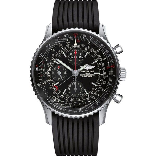 BREITLING Navitimer heritage watch (11,165 CAD) ❤ liked on Polyvore featuring men's fashion, men's jewelry, men's watches, mens leather strap watches, breitling mens watches and stainless steel mens watches