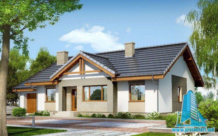 Проект жилого дома с партером, мансардой, гаражом для одного автомобиля и летней террасой-100533