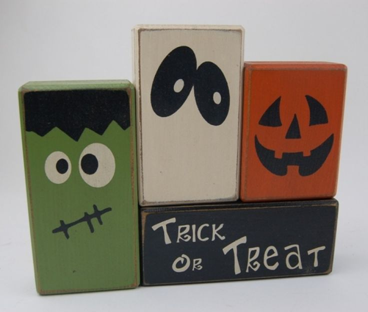 trick or treat with frankenstein ghost pumpkin halloween primitive wood sign blocks - Wooden Halloween Decorations