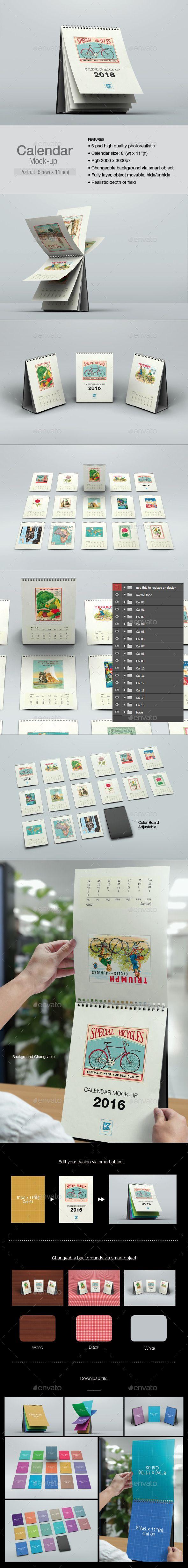 Calendar Mock-up Portrait #design Download: http://graphicriver.net/item/calendar-mockup-portrait/12840028?ref=ksioks