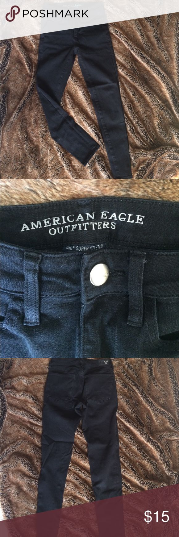 American Eagle Black Jeggings 360° super stretch jeggings. High rise and short cut. These jeggings are versatile and comfortable. In great condition! American Eagle Outfitters Jeans Skinny