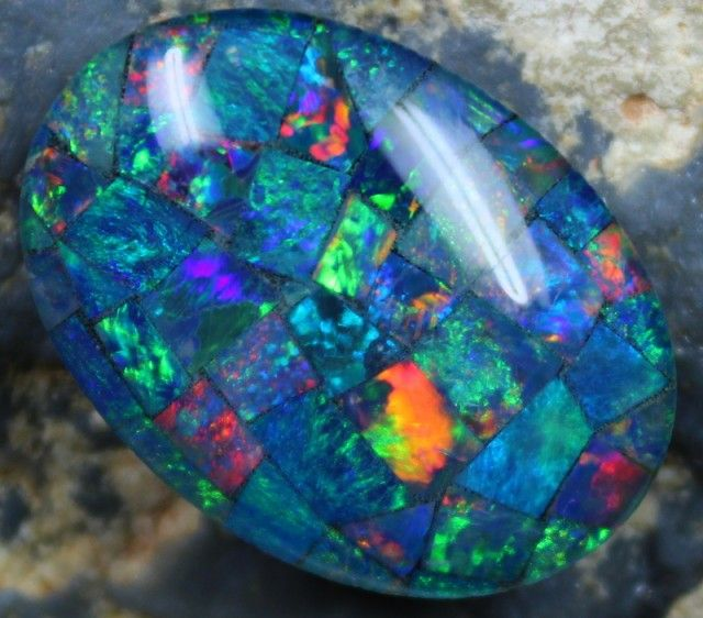 16.05 CTS  TOP QUALITY MOSAIC OPAL ELECTRIC COLOR PLAY C5332