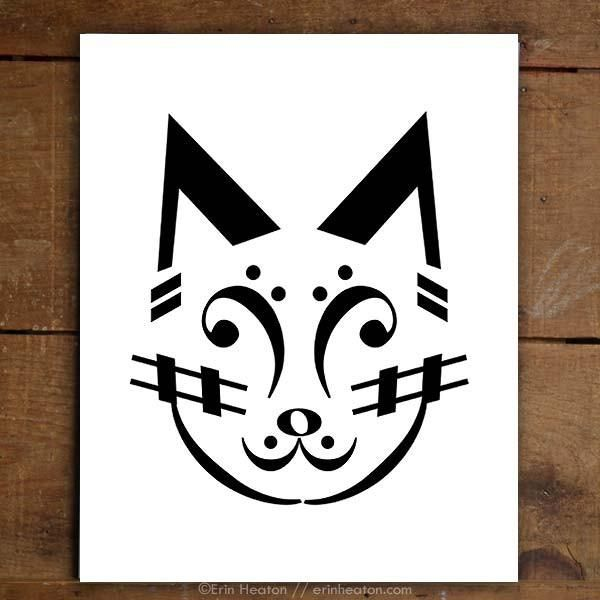 Meow! This cat is made entirely of music notes and symbols. Archival quality fine art print is printed in deep black on bright white, acid-free, 100% cotton rag 64lb fine art paper, and is available i