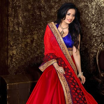 Red Faux Georgette Jacquard and Faux Satin Chiffon Saree with Blouse