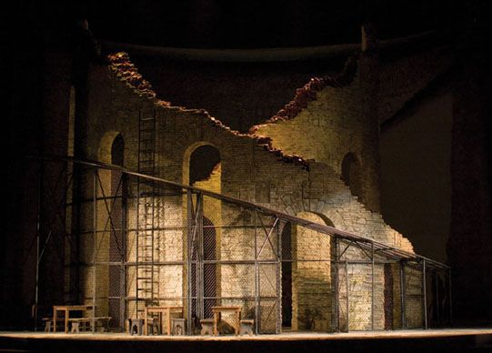 opera news - The bleak Act I set for Richard Eyre's production of CARMEN at the Met. 2009