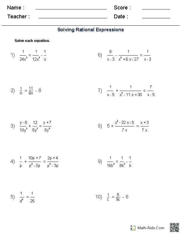 Radical Equations Worksheet Radical Equations Rational Expressions Fractions Worksheets