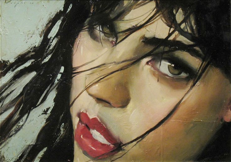 Malcolm T. Liepke (b. 1953), oil on canvas  {figurative #impressionist art female head pretty woman face portrait painting}