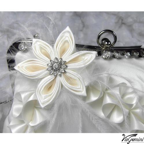 Bridal purse with handmade kanzashi flowers
