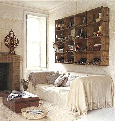 rustic: Wine Crates, Wall Storage, Living Room, Crates Shelves, Crates Ideas, Apples Crates, Wooden Crates, Old Crates, Wood Crates