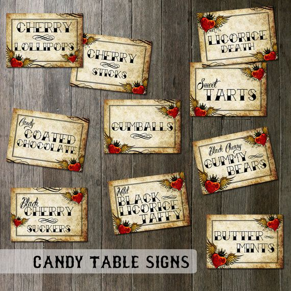 Wedding Candy Table Signs - Digital Files - Sml RSVP Size Custom Tattoo Winged Heart Vintage Distressed Paper on Etsy, $50.00