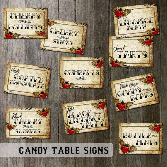 Rockabilly Wedding Candy Table Signs  Digital door OddLotPaperie