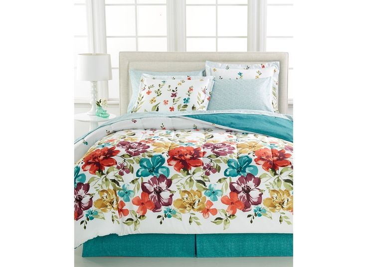 Bright Floral, Flowers, Girls Turquoise Full Comforter Set (8 Piece Bed In A Bag) + BONUS HOMEMADE WAX MELT! //Price: $44.27 & FREE Shipping //     #hashtag3