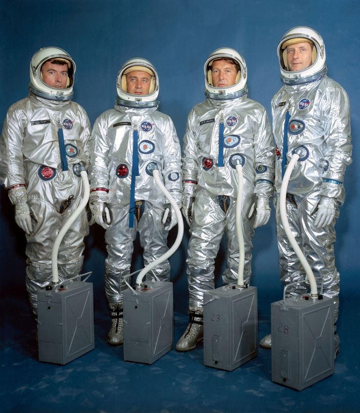 Left to right are astronauts John W. Young, Virgil I. Grissom, Walter M. Schirra Jr. and Thomas P. Stafford. Gemini III crew assignments are as follows: Grissom, command pilot; Young, pilot, on the prime crew, with Schirra (command pilot) and Stafford (pilot) serving as alternates.