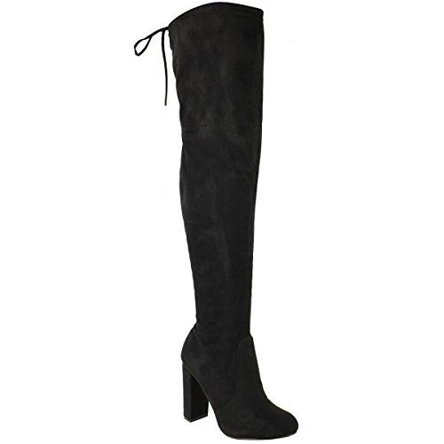 Fashion Thirsty Womens Thigh High Boots Over The Knee Party Stretch Block Mid Heel Size