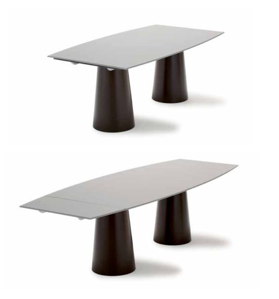 The rectangular and extendible versions  of Totem table: elegance is due to the invisible extensible mechanisms and the high functionality to tops that can achieve 3 meters length.  #design #homedecor