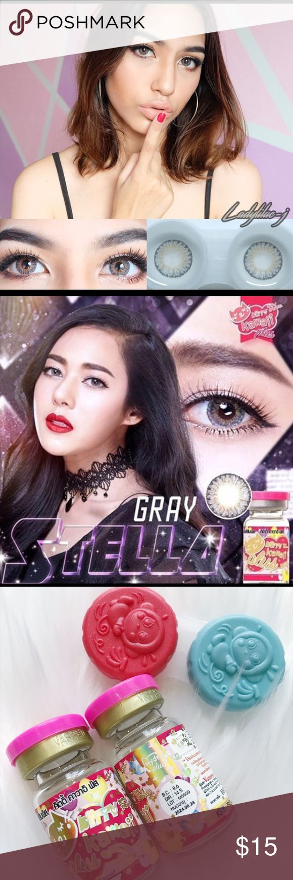 Contact lens Kitty Kawaii Stella Gray Cosmetic Brand  : Kitty Kawaii * Made in Korea * Color : Stella Gray  * Base Curve :8.60 m * Diameter : 14.50 mm * Power : 0 * Water : 55% * Hema : 45% * Package: 1 pair (2 pieces) of the color contact lens and free case * Using : Monthly  How to use Soak contact lens in purpose solution in 12 hours before use contact lens.   *Price is firm* Kitty Kawaii Makeup