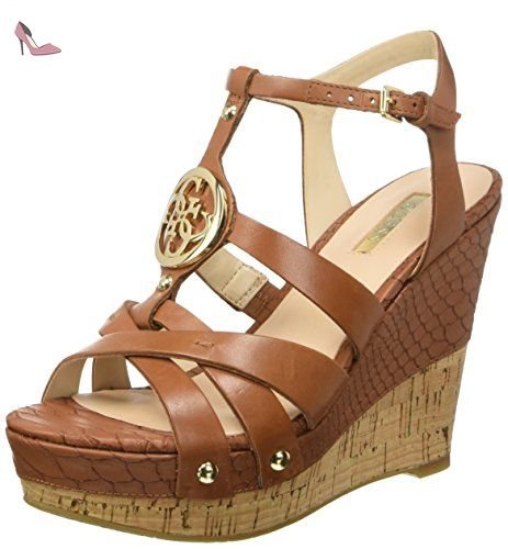 Guess Wedge Santal Femmes Okie Logo Leather Wedge cm 11 PL 4 Tan, Marron - Marrone (Tan), 39 - Chaussures guess (*Partner-Link)