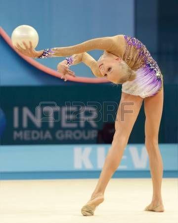 KIEV, UKRAINE - AUGUST 28, 2013: Yana Kudryavtseva of Russia in action during the 32nd Rhythmic Gymnastics World Championships in Kiev, Ukraine on August 28, 2013 photo
