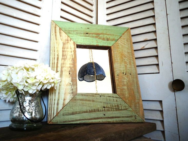 Reclaimed Wood Framed Mirror in Shades of Green —
