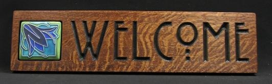 This welcome sign incorporates our 3x3 Ladybell in Voilet