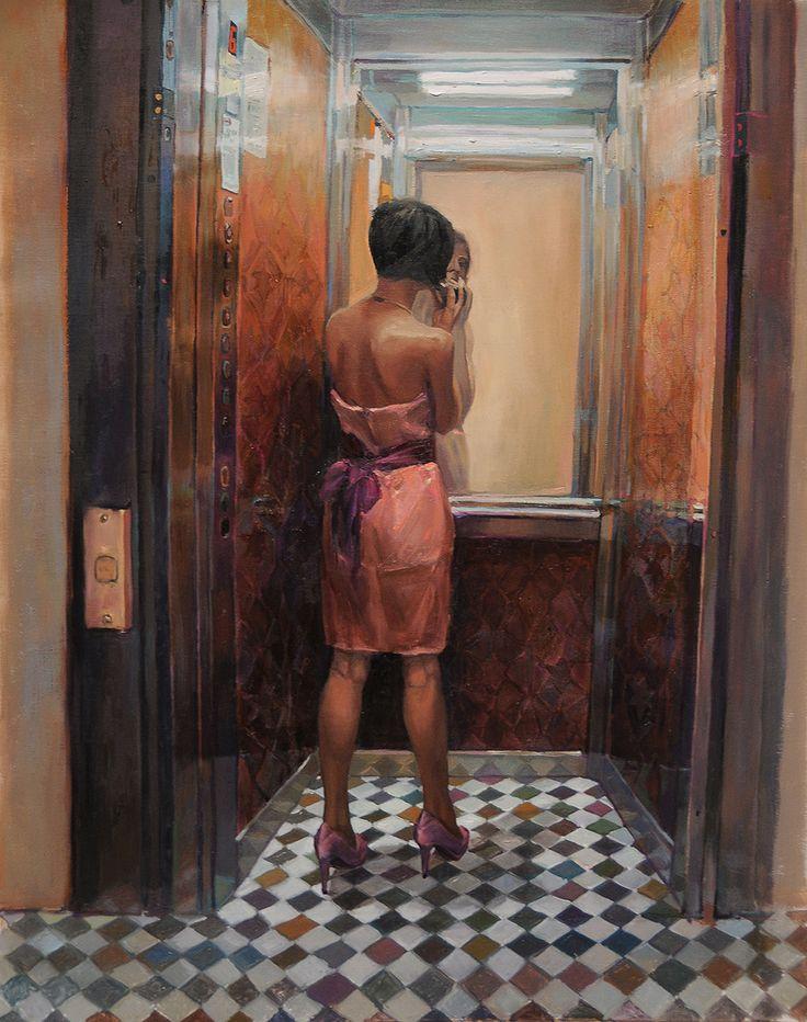 Woman in Pink, Lift Reflections by Nadia Tsakova