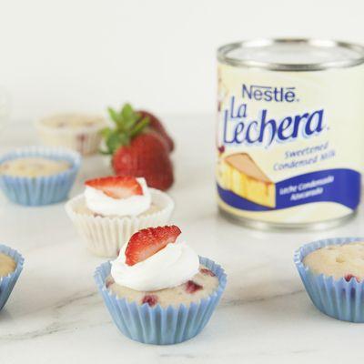 Mini Strawberry Tres Leches Cupcakes