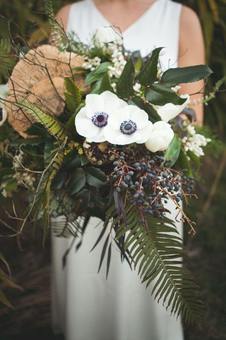 Forest Bouquet. Green. White. Dark. White Anenomes. Mushrooms. Ferns. Oregon Grape. Privet Berries. Twigs. Large. Wedding. Bridal Bouquet.   Photo: http://joystudios.net/