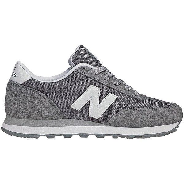 New Balance Suede and Mesh Athletic Sneakers ($65) ❤ liked on Polyvore featuring shoes, sneakers, grey, suede sneakers, gray sneakers, lace up sneakers, new balance shoes and rubber sole shoes