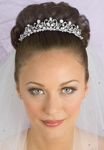Fanciful Curly Pave Crystal and Pearl Bridal Tiara with Veil