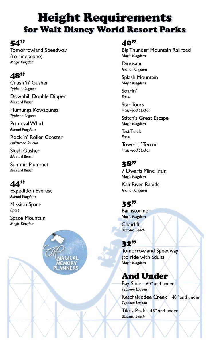 A handy chart of height requirements for rides at Disney