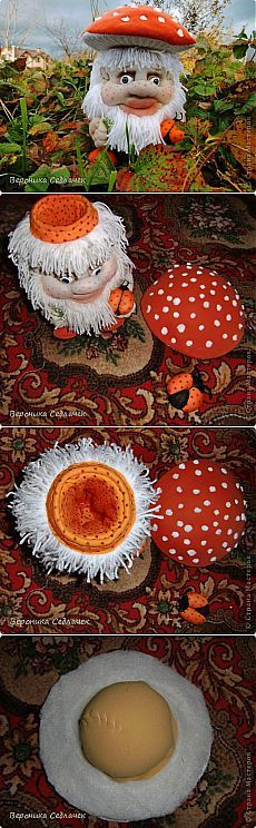 Оранжевый Мухомор с божьей коровкой, гриб-тайник (чулочная техника). | Страна Мастеров