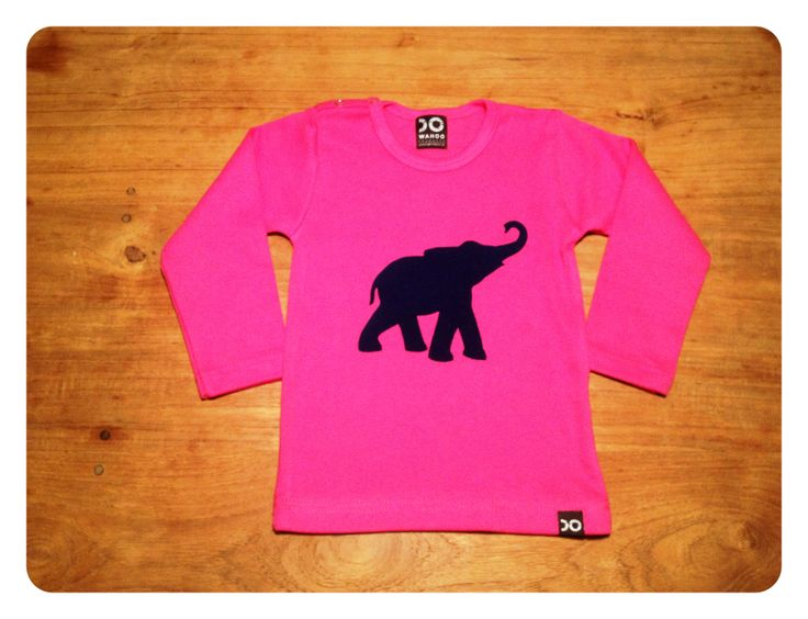 """The fuchsia tee with the """"Elephants remember..."""" flock print in dark blue"""