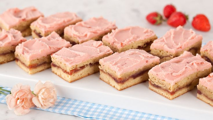 Strawberry Blondies - Recipes - Best Recipes Ever - Blondies are famously unfussy but remarkably delicious.